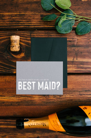 Grey Will You Be My Best Maid Wedding Day Card, Bridesmaid Gift Ideas, Wedding Party Proposal Card, Grooms Party Gifts, Bridal Party Invite