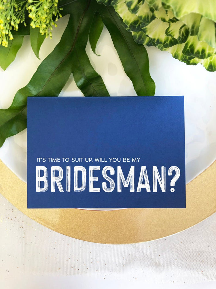 Blue Be My Bridesman Proposal Card, Suit Up Card, Bridesman Gift, Bridesman Asking Card, Bridal Party Card, Wedding Party, Male Bridesmaid
