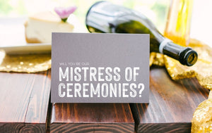 Load image into Gallery viewer, Grey Wedding MC Card, Mistress of Ceremonies Card, Wedding Party, Bridal Party Gift, Modern, Wedding Ceremony, Female MC for Reception