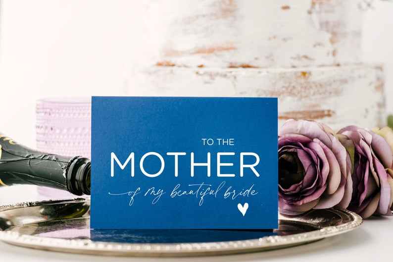 Blue Mother of the Bride Gifts, Parents in Law Gift, Brides Parents, Mom In Law Card, Groom Gift for New In Laws, To Mum in Law Wedding Day