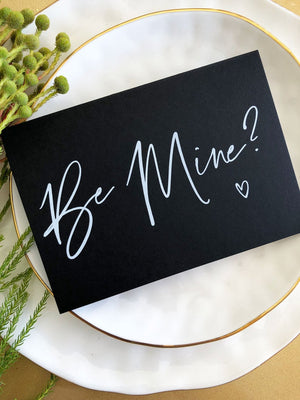 Black and White Be Mine Valentines Day Card, For Her, Gift For Him, Card for Girlfriend, Card for Boyfriend, Be Mine Card, BT
