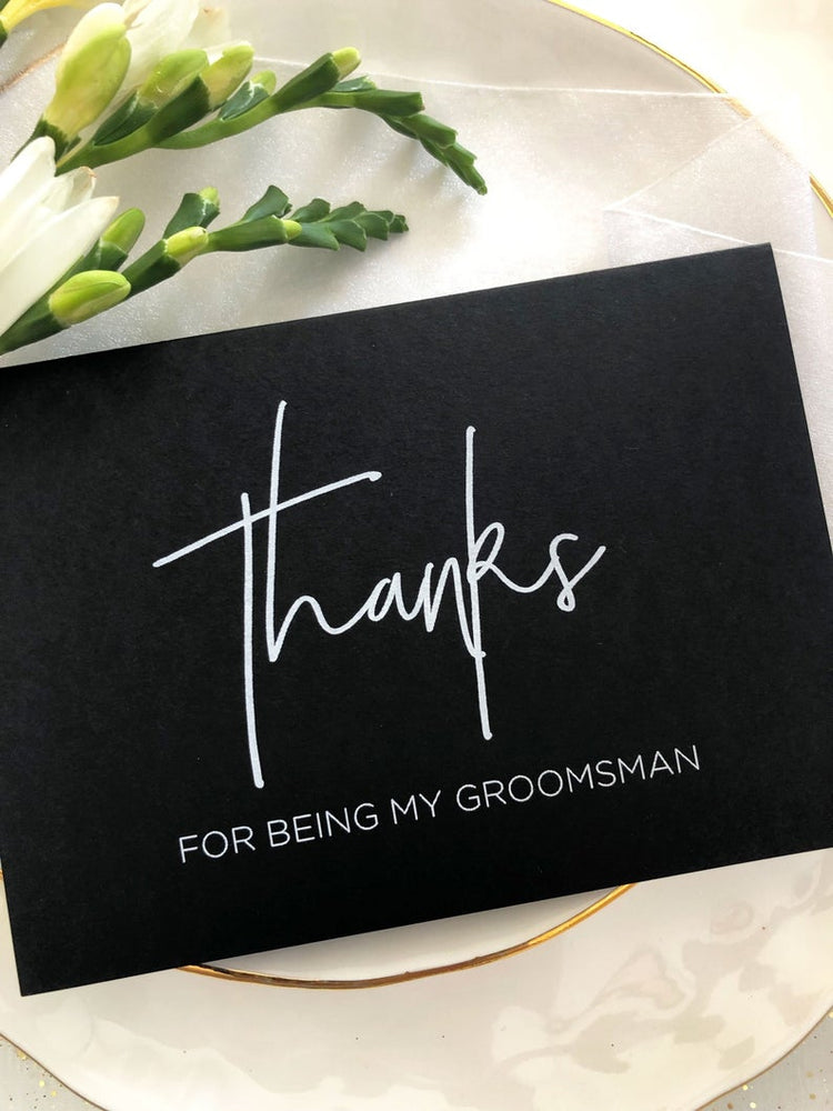 Minimalist Thanks for being my Groomsman Wedding Day Card, Groomsman Gifts, Best Man Thank You Cards, Groomsmen Ideas, Bridal Party CS BW