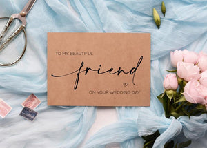 Best Friend Wedding Card, Beautiful Friend Gift, To My Bestie On Her Wedding Day, Congratulations, Gifts for Bride, Rustic Kraft Calligraphy