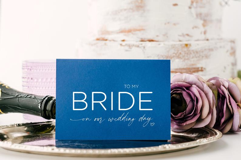 Blue To My Bride On Our Wedding Day Card, For Future Wife From Groom, To Bride Cards From Husband, Love Cards, Cute Modern Wedding Keepsake