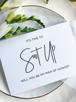 Man of Honor Card, Best Man Card, BestMan Card, Will You Be My Man of Honour, Asking Best Man, Keepsake Card, Suit Up Card, Bridal Party