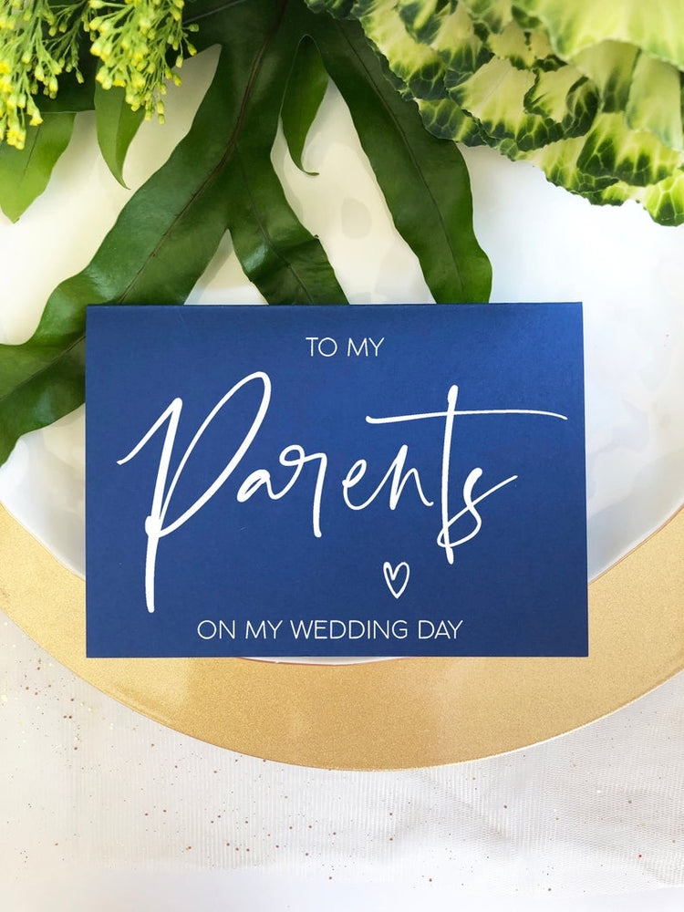 Blue To My Parents on My Wedding Day Card, Parents Wedding Card, Parents Of The Groom, Wedding Card For Mom And Dad, Brides Parents, BT