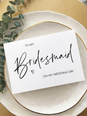 Minimalist To My Bridesmaid on my Wedding Day Card, Thank You Card, Bridesmaid Gift Ideas, For Bridesmaids Gifts, Bridal Party Gift Heart BT