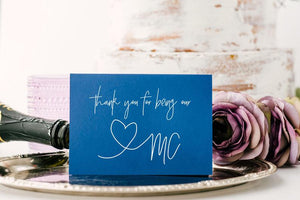 Blue Thank You For Being Our Master of Ceremonies, Bridal Party Gift, MC Card, MC Gift, Mistress of Ceremonies Gift from Bride & Groom CS
