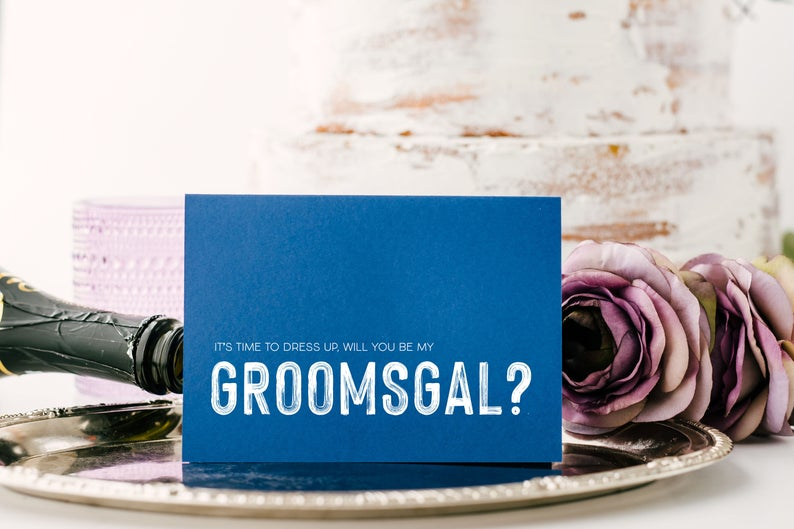 Blue Be My Groomsgal Proposal Card, Drees Up Card, Grooms Gal Gift, Best Man Asking, Bridal Party, Wedding Party, Male Bridesmaid from Groom
