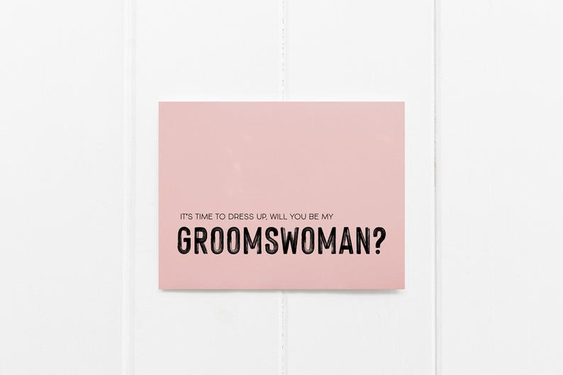 Pink Will You Be My Groomswoman Wedding Day Card, Bridesmaid Gift Ideas, Wedding Party Proposal Invite, Grooms Party Gifts, Groomsman