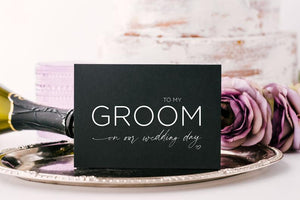 Black To My Groom on our Wedding Day Card, From Bride, Husband from Wife, Gift For Groom To Be, Love Cards, Cute Modern Wedding Stationery