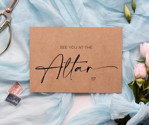 See You At The Altar Wedding Card for Groom, Husband Wedding Gift, Bride Cards For Wedding Day, Love Romantic, Rustic Wedding, Kraft Wife