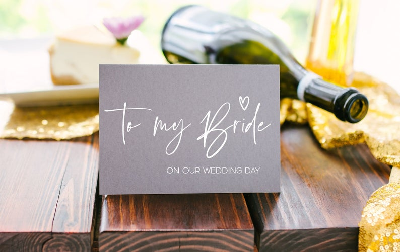 Load image into Gallery viewer, Grey and White To My Bride on Our Wedding Day Card For Bride, Card From Groom, To Bride Card, Bride, To Be Card, Wife To Be Card BT