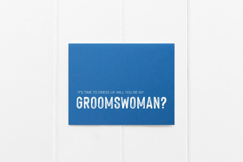 Blue Will You Be My Groomswoman Wedding Day Card, Bridesmaid Gift Ideas, Wedding Party Proposal Invite, Grooms Party Gifts, Groomsman