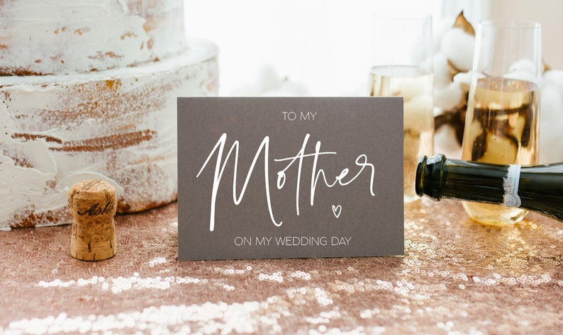 Grey To My Mother on My Wedding Day Card, To My Mom Wedding Card, Mum Of The Groom, Wedding Card For Brides Mom, White ink Printing BT