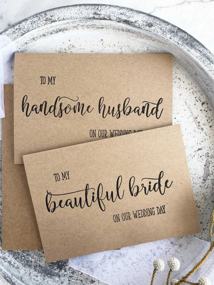 Bride and Groom Card Set, Card From Bride, Handsome Husband, To My Groom Card, Groom Card From Bride, Husband Gift, Wedding Day Cards Rustic