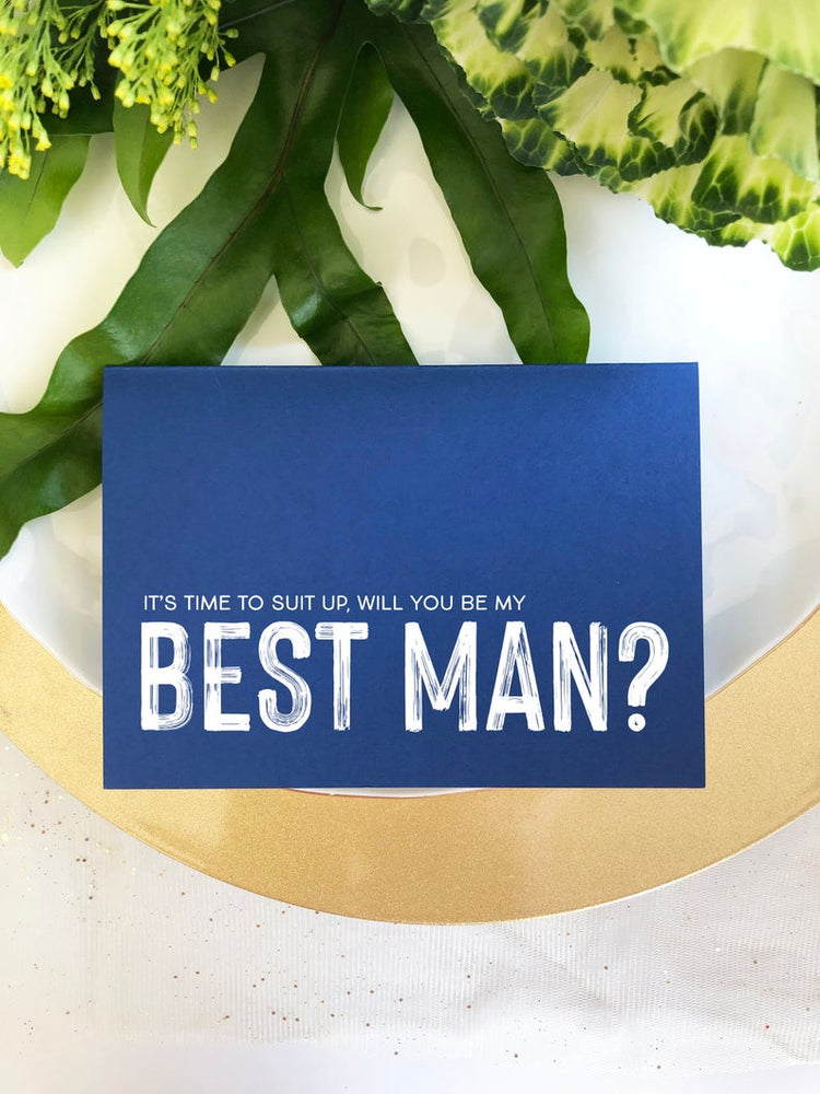Navy Asking Best Man Proposal Wedding Card, Suit Up Invite, Asking Groomsman, Gift Best Man Invitation, Modern Cards From Bride and Groom