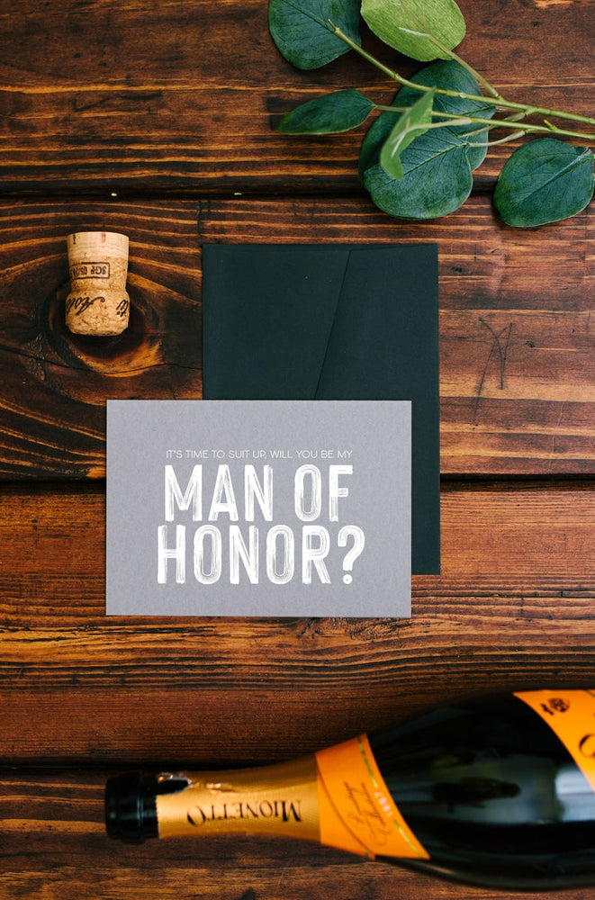 Grey Man of Honor Wedding Card, Suit Up Be My Man of Honour Invite, Asking Groomsman Gift, Invitation, Simple Cards From Bride and Groom