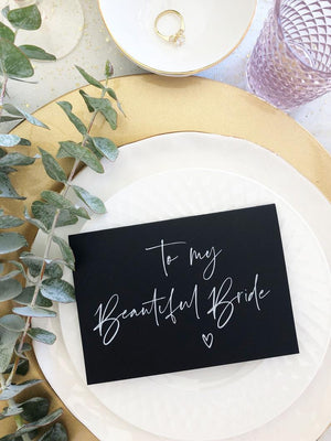"Black and White ""To My Beautiful Bride on Our Wedding Day"" Card from Groom for Bride BT"