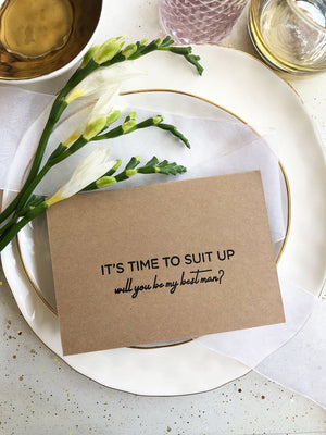 Rustic Its Time to Suit Up Will You Be My Best Man Request Card, BestMan Gift, Asking Groomsman Proposal Card, Wedding Party Kraft