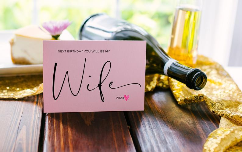 Blush Pink Next Birthday You'll be my Wife Card