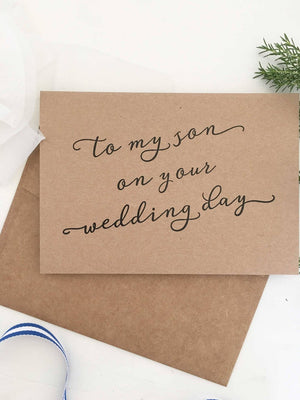 To My Son, To My Son on His Wedding Day, To My Son on Your Wedding Day, Card, Grooms Parents Gift, Mother of the Groom, Father of the Groom
