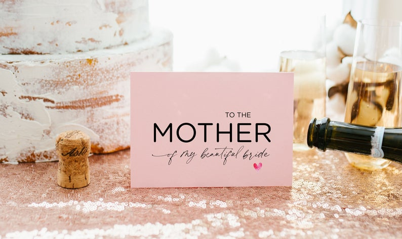 Pink Mother of the Bride Gifts, Parents in Law Gift, Brides Parents, Mom In Law Card, Groom Gift for New In Laws, To Mum in Law Wedding Day