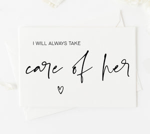 I will always take care of her card for brides parents from groom new in laws wedding day card with heart