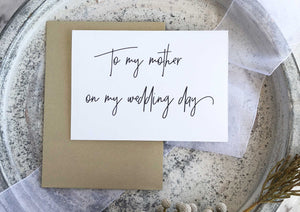 To My Mother on My Wedding Day Card for Mom From Bride or Groom