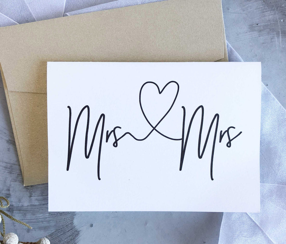 Mrs and Mrs Wedding day Engagement congratulations card gift for new married couple