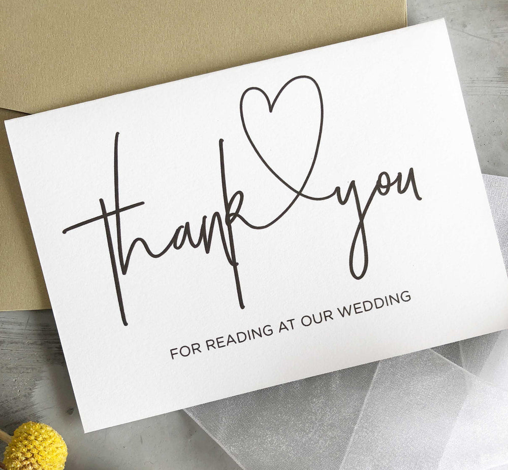 "Load image into Gallery viewer, ""Thank You for Reading at our Wedding Card"" Bridal Party Gift"