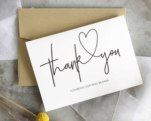 """Thank You for Being Our Ring Bearer Wedding Card"" Bridal Party Gift"