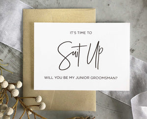its time to suit up will you be my junior groomsman