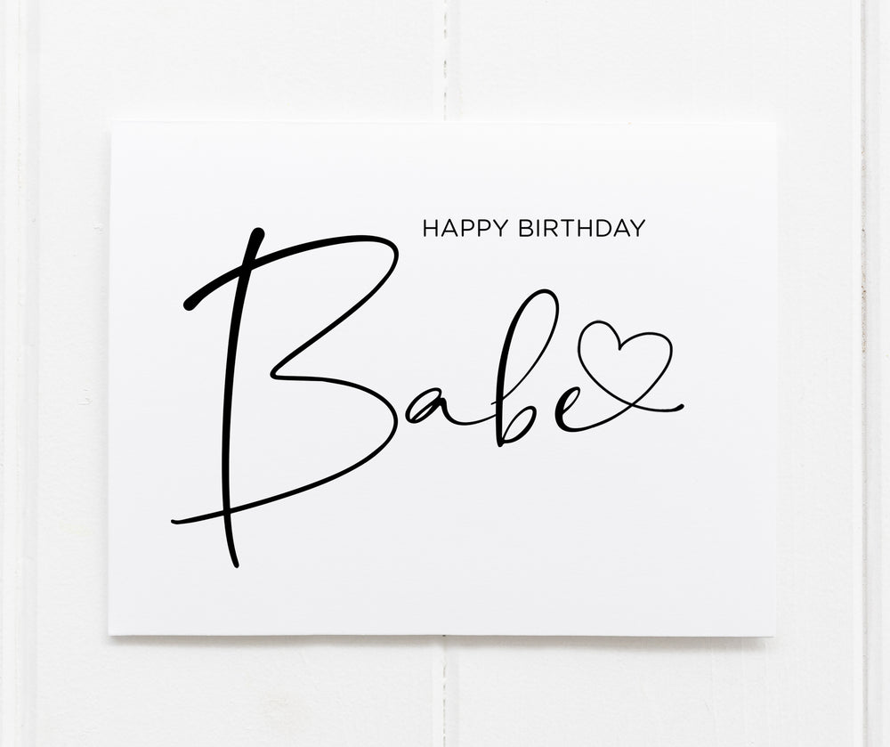 Heart Happy Birthday Babe CArd for boyfriend girlfriend husband wife fiance love