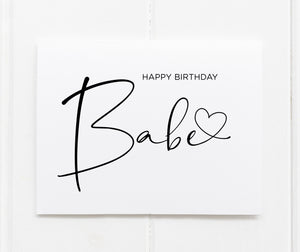Load image into Gallery viewer, Heart Happy Birthday Babe CArd for boyfriend girlfriend husband wife fiance love