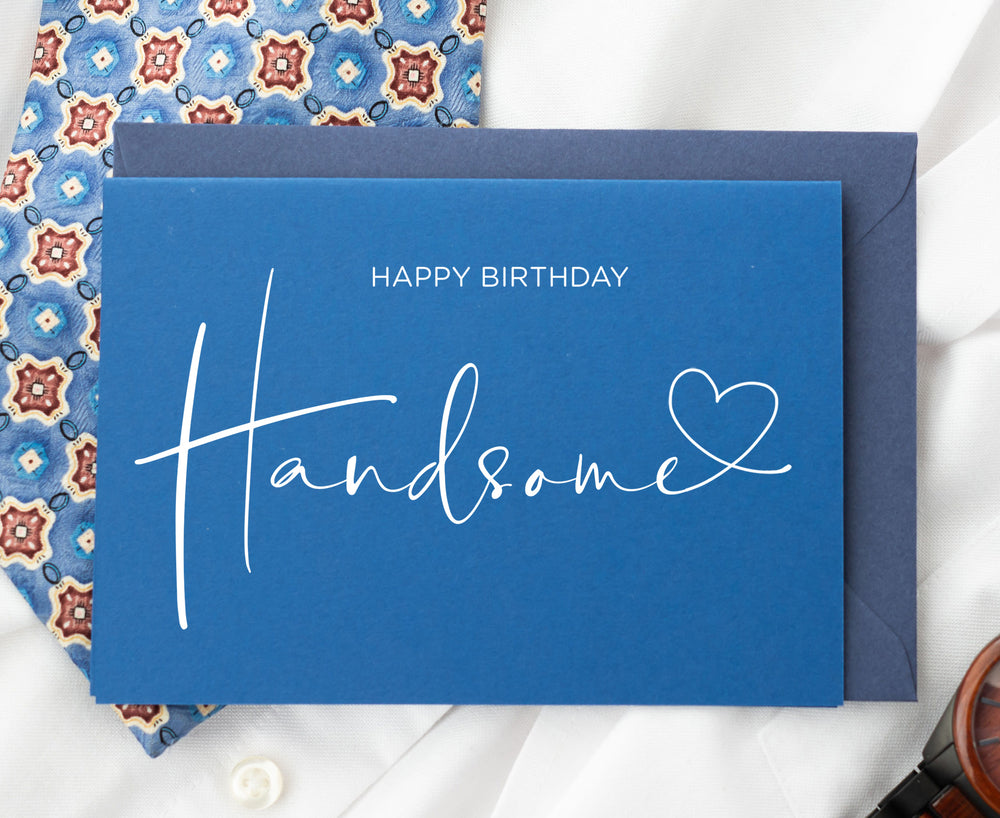 Load image into Gallery viewer, Heart Happy Birthday Handsome Husband Boyfriend card from girlfriend