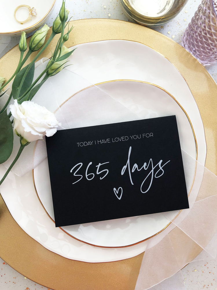 Black Happy First Wedding Anniversary 365 Days Anniversary Card