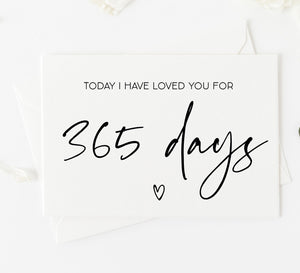 365 Days First Anniversary Card