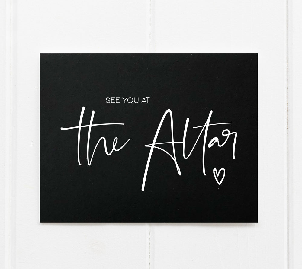 Black and White See You at the Altar Modern Wedding Day Card for Bride and Groom