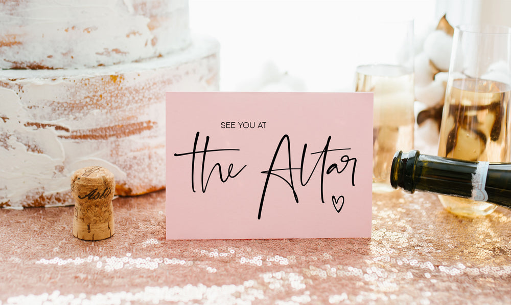 Cute Pink See you at the altar card