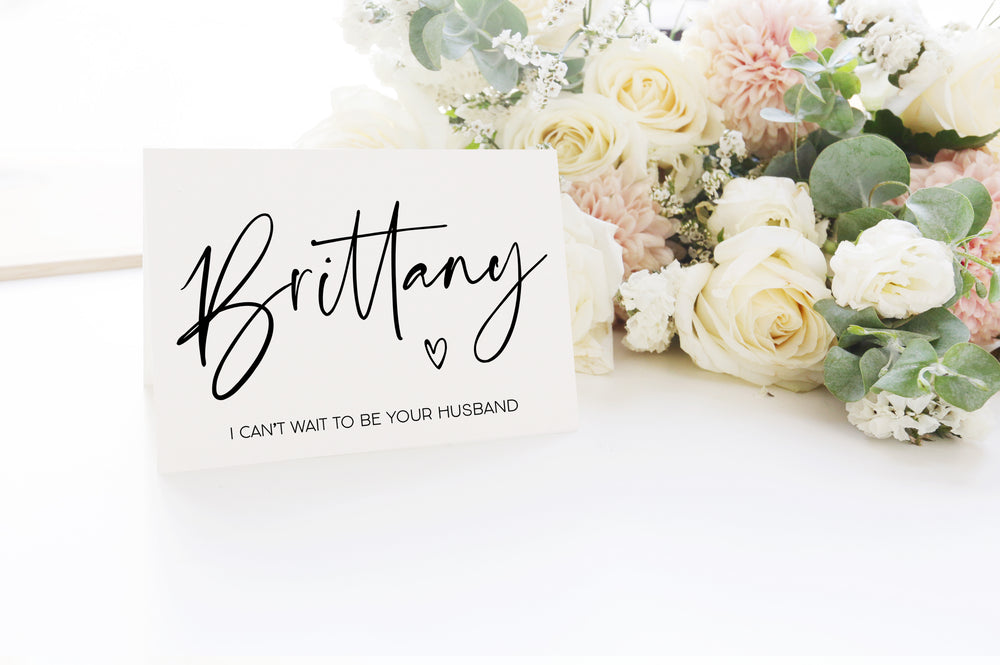 Custom Bride Wife Wedding dat Card from Groom Husband Gift