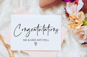 Wedding Engagement Congratulations Card for Couple Friends Custom Gift