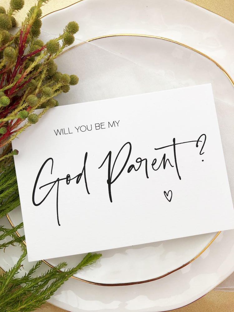 """Will You Be My God Parent"" God Parents Request Card"