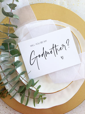 """Will You Be My Godmother"" Godparent Baptism Card"