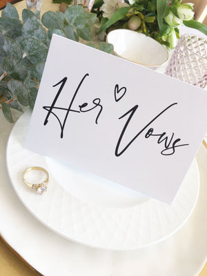 "Load image into Gallery viewer, ""His & Her Vows"" Modern Wedding Vow Keepsake Card Set"