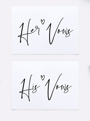bride and groom wedding day vow cards set of his and her vows books