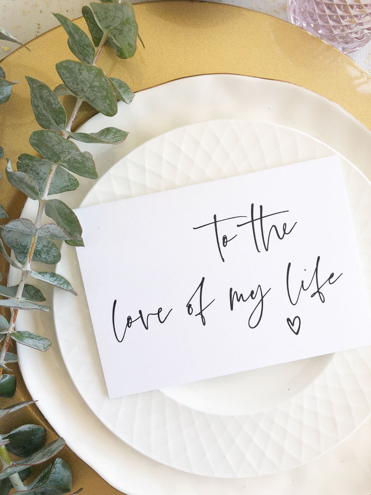 """To the Love of My Life"" Simple Wedding Day Card from Bride for Groom"