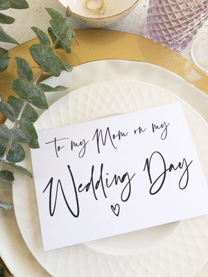 To My Mom on My Wedding Day Card for Mother of Bride Groom