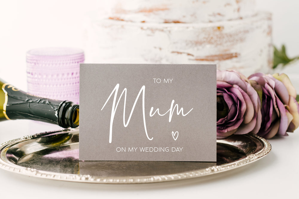 Load image into Gallery viewer, Grey and White To My Mom on My Wedding Day Card