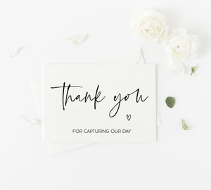 Thank You for Being our Photographer Card, Wedding Vendor Gift